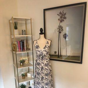 Jessica Simpson Blue/Purple Floral Ruffled Maxi